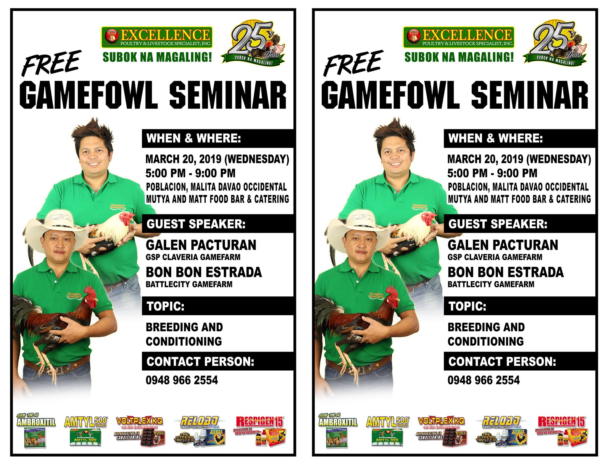FREE Gamefowl Seminars | Excellence Poultry and Livestock